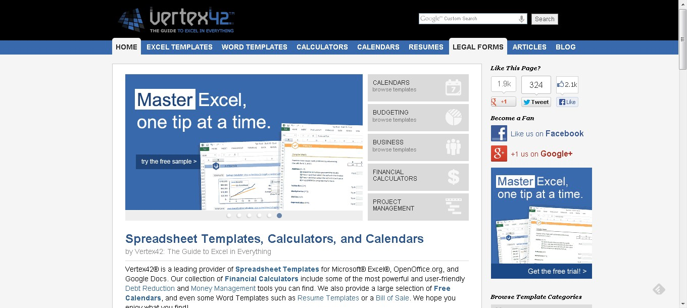 Excel Templates Calendars Calculators And Spreadsheets By Vertex42